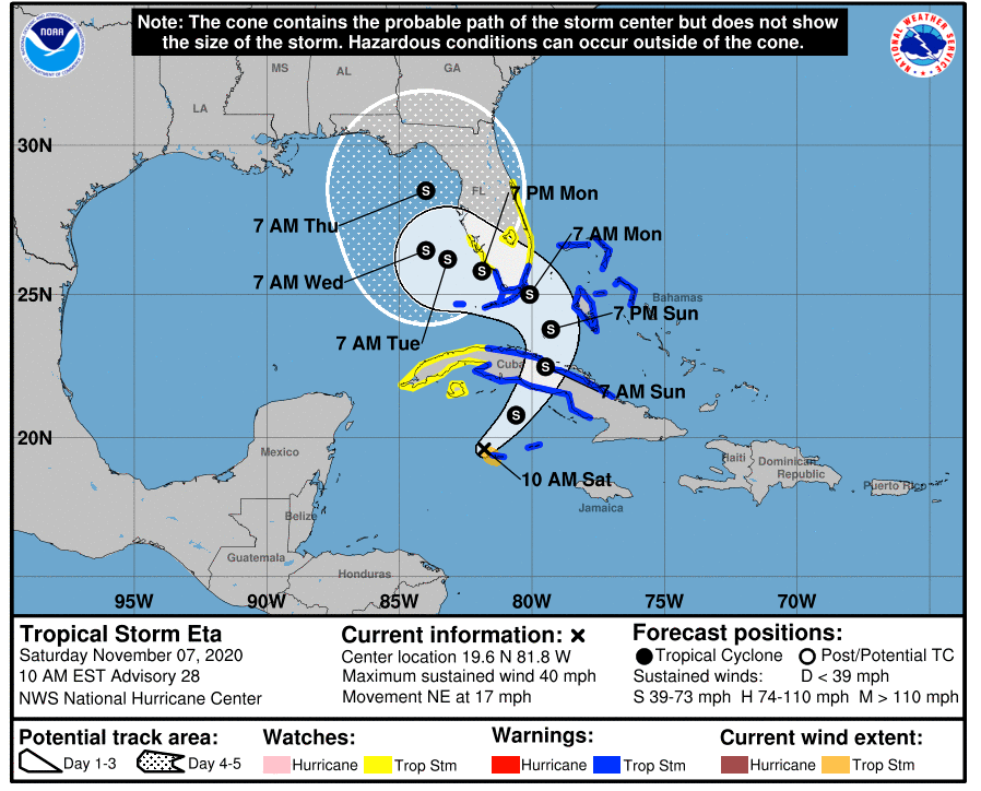 """Tropical Storm Eta """"Regains Strength"""" With South Florida In Path"""