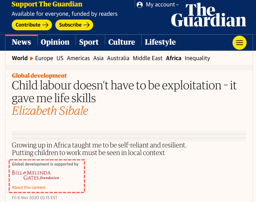 Bill Gates-Funded 'Child Labor Is Good' Article Triggers Internet Outrage
