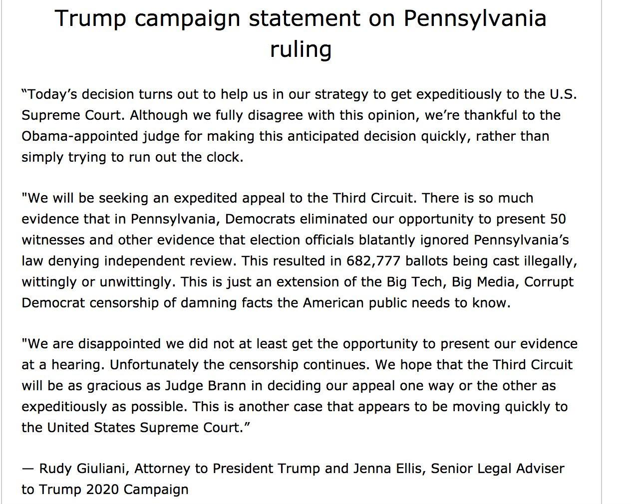 Pennsylvania Judge Throws Out Trump Campaign Lawsuit, Setting Stage For Supreme Court Showdown
