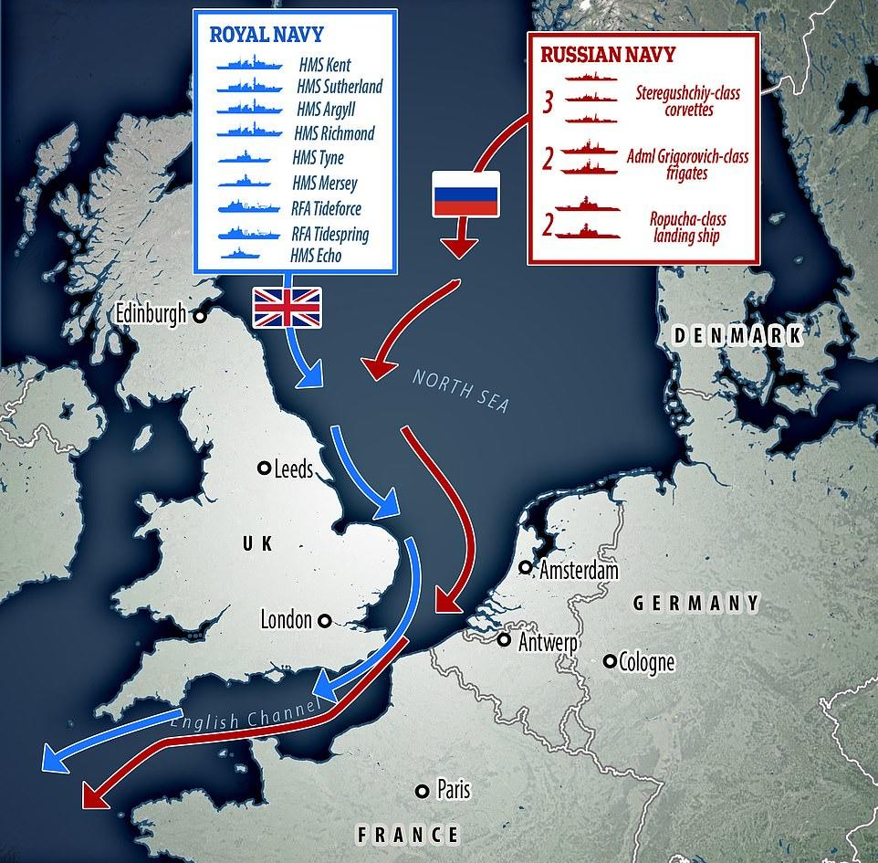 "Royal Navy Shadows 9 Russian Warships Off UK, Says ""Ready To Respond"""