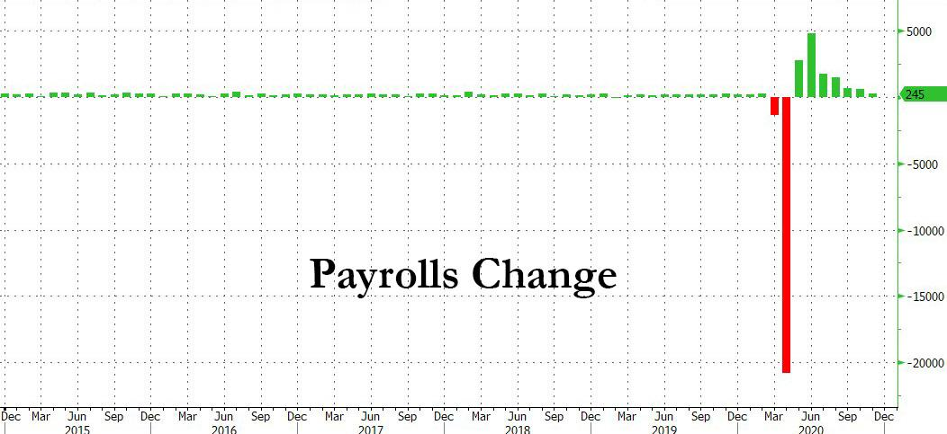 November Payrolls Huge Miss At Just 245K Jobs Added, Unemployment Rate 6.7%