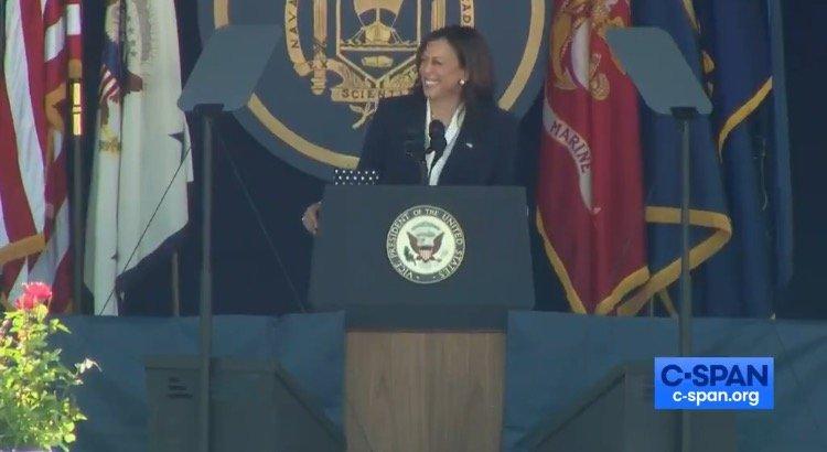 CRINGE: Kamala Harris Tells Woke Joke About Female Marine at Naval Academy, Cadets Groan as She Cackles Awkwardly (VIDEO)