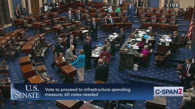Senate Republicans Block Opening Debate on $1.2 Trillion Infrastructure Measure